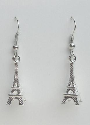 """Серьги """"париж"""" эйфелева башня античное серебро"""