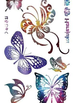 Временные тату-стикеры красочные бабочки флеш-тату переводные ...