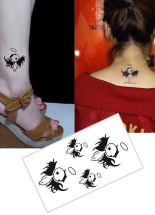 Временные тату-стикеры ангелочки кавайные флеш-тату переводные...