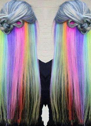 Цветная прядь канекалон накладные волосы украшение для волос р...