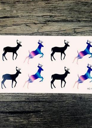 Временные тату-стикеры с оленями флеш-тату переводные водонепр...