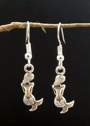 Серьги русалка античное серебро