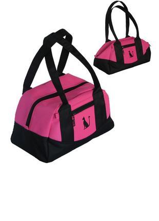 Женская сумка чёрная с розовым- классика в модном стиле и с ра...