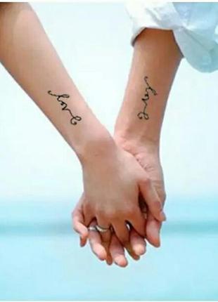 Временные тату-стикеры с надписью love флеш-тату переводные по...