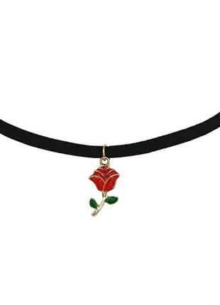 Чокер замшевый черный с подвеской красная роза