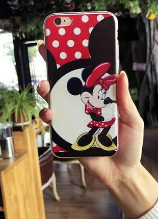 Мультяшный силиконовый чехол для iphone 7 айфон 7 с минни маус