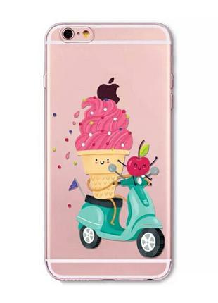 Силиконовый чехол для iphone 7 айфон 7 с мороженным на мопеде