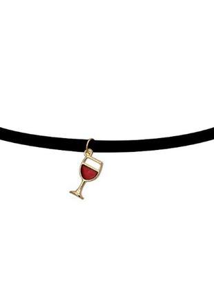 Чокер замшевый черный с подвеской красное вино