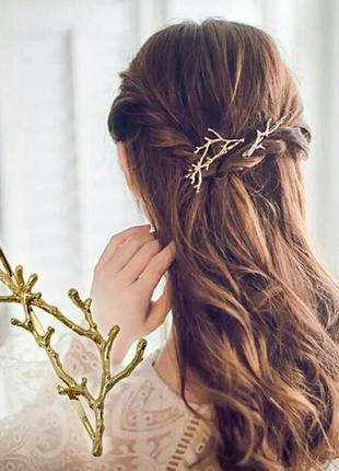 Заколка для волос золотая веточка украшение аксессуар для волос