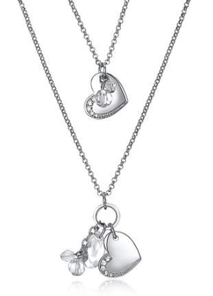 Богемное двухслойное ожерелье кулон длинная цепочка сердца кри...