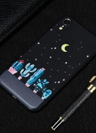 Матовый черный чехол на iphone xr айфон xr с кактусами и звезд...