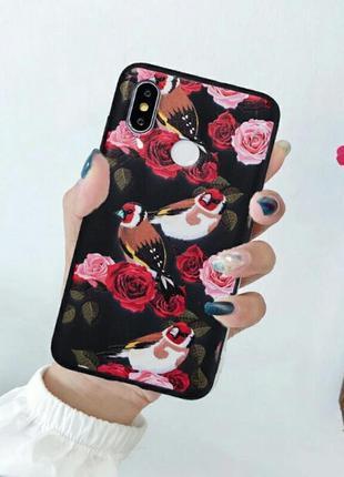 Мягкий силиконовый чехол на xiaomi 6x с цветами и птичками