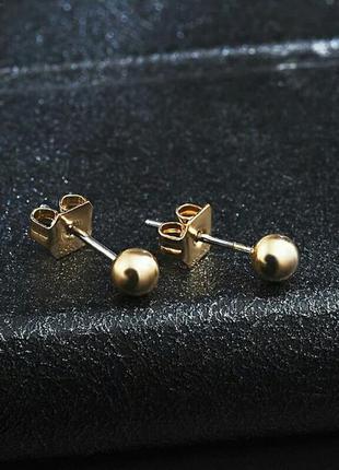 Серьги-гвоздики золотистые минимализм