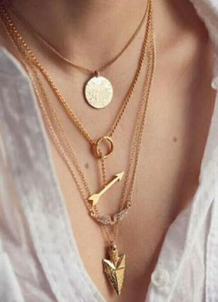 Многослойное ожерелье золотого цвета 5 в одном  крылья ангела ...