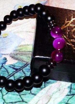 Шикарный браслет из натуральных камней тигровый глаз и вулкани...