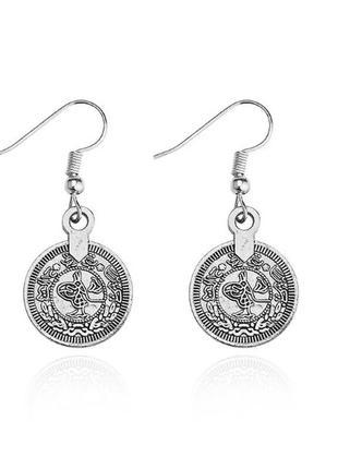 Оригинальные круглые серьги в форме монет серебряного цвета бо...