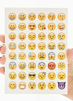 Набор стикеров наклеек смайлики 48 штук emoji самоклеющеяся