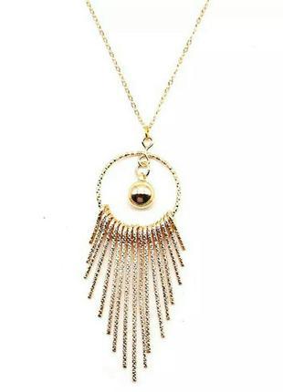 Ожерелье с подвесками с кисточками в виде капель золотого цвет...