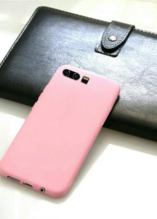 Матовый светло-розовый чехол на на huawei p10