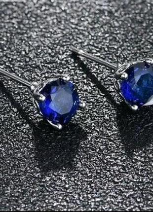 Красивые миниатюрные серьги-гвоздики с синим камнем титановое ...
