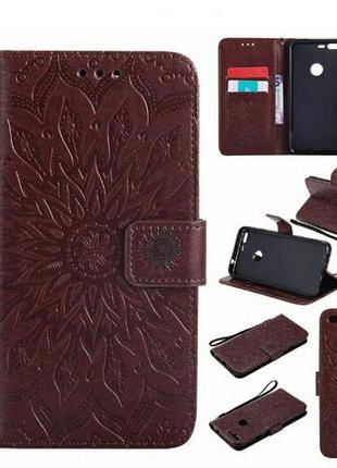 Кожаный чехол-книжка трансформер коричневого цвета с узорами д...