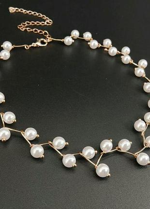 Нежное колье-чокер ожерелье с жемчугом в золоте
