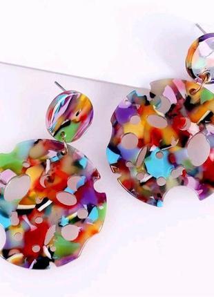 Стильные серьги необычной формы арт серьги разноцветные