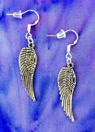 """Серьги """"крыло ангела"""" античное серебро"""