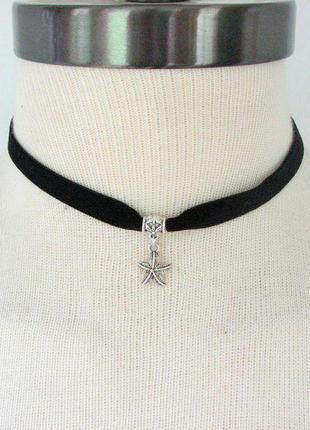 Черный бархатный чокер с подвеской звезда античное серебро
