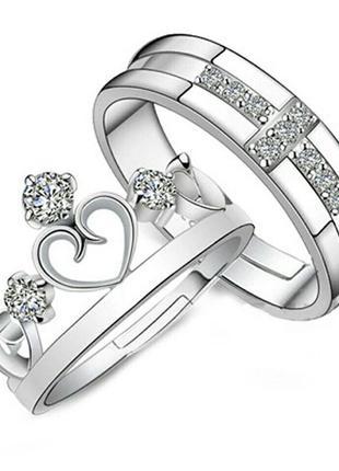 Парные кольца женское и мужское серебряные с сердцами и циркон...