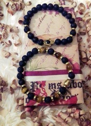Парные браслеты для влюбленных из камня тигровый глаз и лавы п...