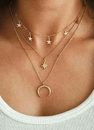 Многослойное ожерелье подвеска колье 3 слоя с луной и звездами...