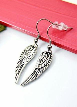 Серьги крыло ангела античное серебро ручная работа
