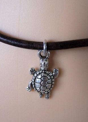 Черный кожаный браслет на ногу с подвеской черепаха античное с...