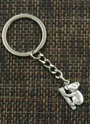 Брелок для ключей с подвеской коала античное серебро