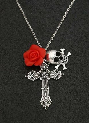 Стильная подвеска кулон в стиле рок с крестом, розой и черепом