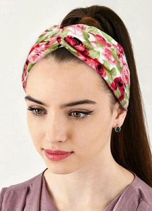 Повязка на голову ободок бандана аксессуар для волос розовая с...