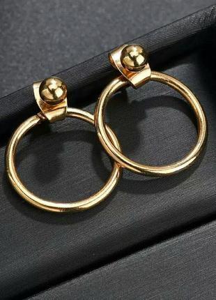 Стильные серьги-гвоздики круглые золотистые минимализм