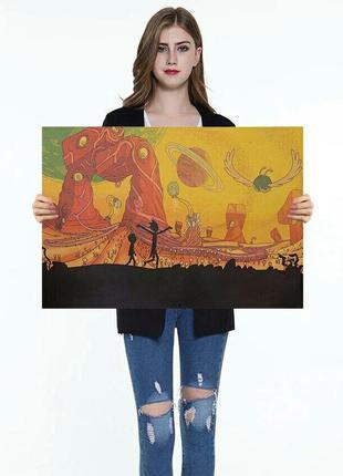 Картина постер рик и морти rick and morty винтажный плакат на ...