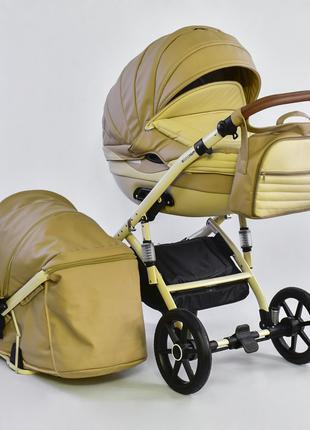 Универсальная детская коляска 2 в 1 Lumi №0205 D-11 эко кожа беж