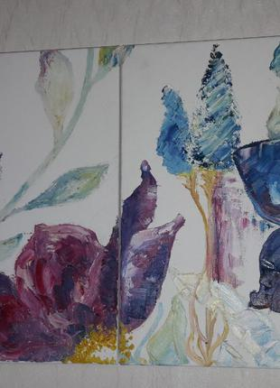 """Картина-диптих """"Цветы"""""""