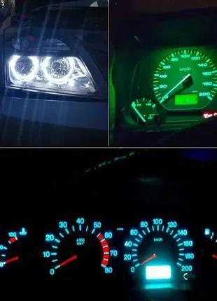 Светодиодная автомобильная лампа цвет синий или зеленый 10 штук