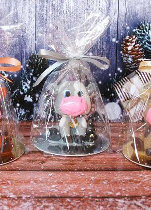 Новогоднее мыло ручной работы символ года миленький бычок