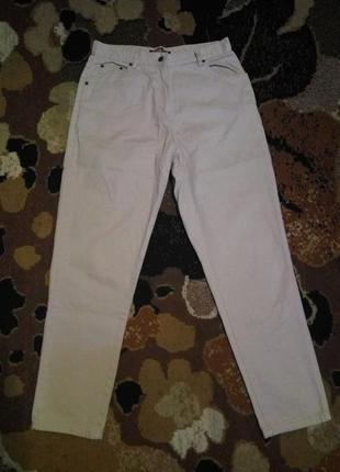 Denim co . модные бежевые джинсы завышенная талия, зауженные к...
