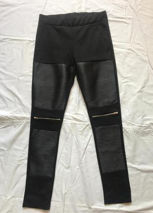 Черные лосины с кожаными вставками