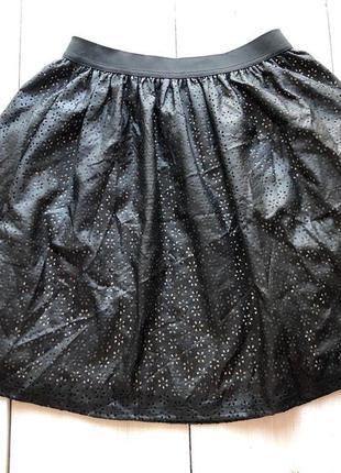 Черная кожаная юбка с подкладкой