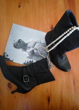 Черные кожаные осенние полусапожки сапоги ботинки