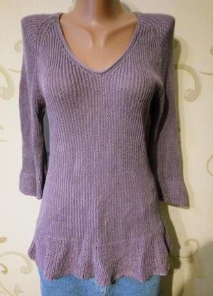 100% лен . интересный лёгкий свитер джемпер пуловер