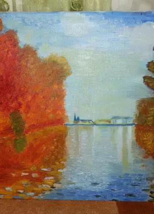 Картина масло, холст «Осень в Аржантее»Клод МонеClaude Mone-копия