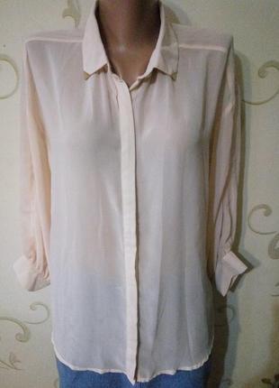Amisu . шифоновая пудровая блузка рубашка сорочка